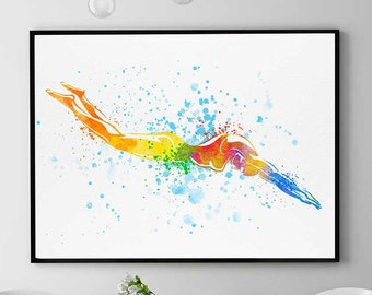 Swimming Girl, Watercolor Print, Swimmer Gift, Sports Decor, Swimming Pool Wall Art, Home Decor (N043)