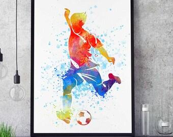 Soccer Girl Print, Football Girl, Sports Decor, Watercolor Print, Wall Art Painting, Wall Decor,  Birthday Gift (N007)