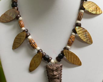 Tiki Necklace with lucite TIKI pendant
