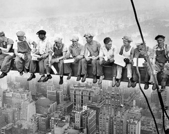 Empire State workers having Lunch Iconic Black & White Canvas Photo Box A4, A3, A2, A1