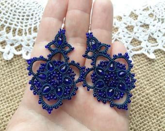 Earrings  Viola Chandelier Earrings lace earrings gift for her lace jewelry