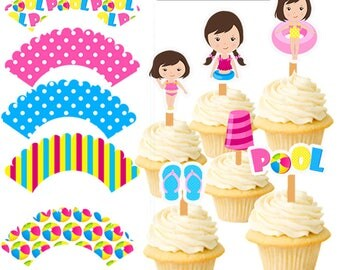 Pool Party Cupcake toppers, Pool Party Cupcake Wrappers, Pool Party Decor, Pool Party Theme, Pool Party, Swim Party