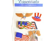 USA Patriotic, Fourth of July, American Flag, American Eagle, Hat and Liberty Bell Scrapbooking Stickers - Sandy Lion Essentials