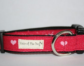 Red with Pink  Hearts DoG Collar