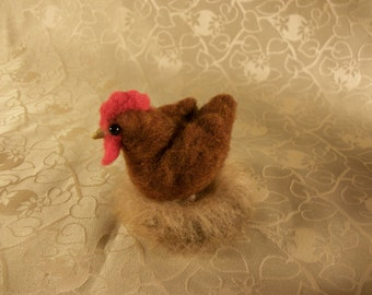 Needle Felted Hen, Felted Chicken, Felted Animal, Hen with Nest