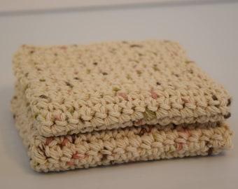 Handmade Crochet Salon/Spa Cotton Wash Cloths/Dish Cloths (set of 2)