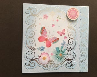 Handmade Beautiful Silver Embossed Shades of Aqua Butterfly/Floral Birthday Card