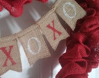 XOXO mini burlap banner,  Valentine's day garland, Wreath embellishment,