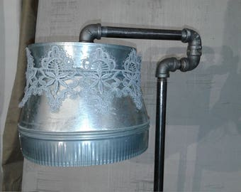 Metal & Lace Industrial Floor Lamp- Pipe Lamp with shade