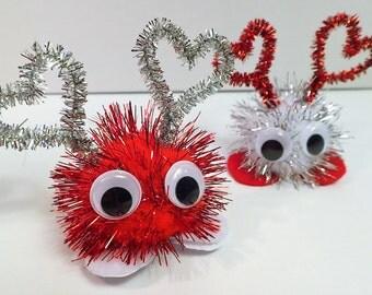 Large Valentine's Day Glittery Warm Fuzzies / Sparkle Pom Pom Critters (Set of 10)