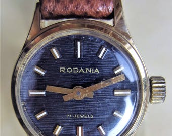 Ladies 1970s Gold Plated Rodania Mechanical 17 Jewels Watch FHF 69-21