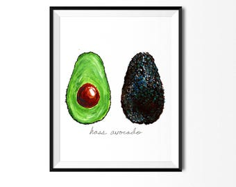 Avocado Print, Food Illustration, Wall Art, Avocado Kitchen Art, Kitchen Decor, Kitchen Print, Food Print, Vegetable Print, Avocado Painting