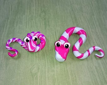 Two Cotton Candy Colored Swirled Snakes Polymer Clay