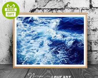 Beach Decor Print, Coastal Decor Print, Ocean Decor Print, Ocean Water, Waves, Printable Large Poster, Beach Wall Art, Coastal Wall Art