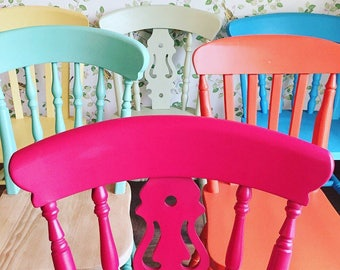Painted Chairs, Vintage Painted Mismatched Chairs, Dining Chairs, Kitchen Chairs, Painted Furniture.
