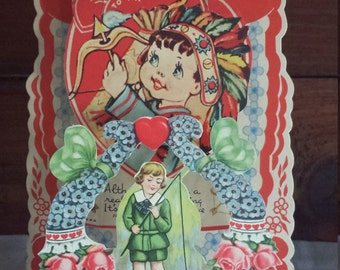 Vintage  Fold Out Honeycomb Valentine Card, with a Little Boy Dressed as an Indian Shooting an Arrow, 1930's