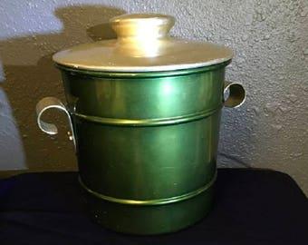 Vintage Kraftware Green Aluminum Ice Bucket