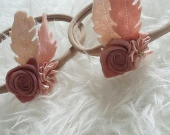 Boho feather flower hairband