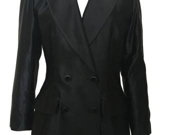 Yves Saint Laurent Black Satin Le smoking Blazer Tuxedo Jacket