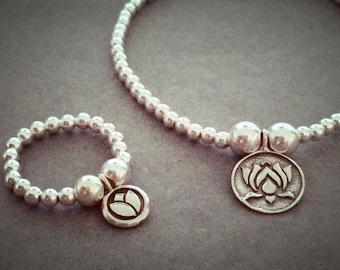 Sterling Silver Lotus Flower Disc Charm Bracelet