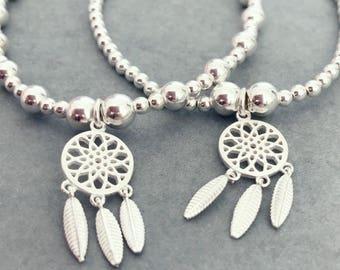 Sterling Silver Dream Catcher Charm Bracelet