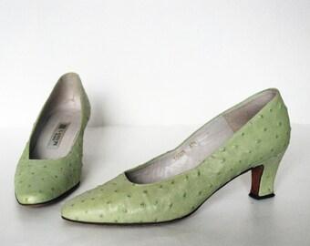 vintage LANVIN pea green exotic Ostrich leather heels pumps 37.5
