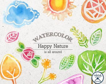 Watercolor Clipart Happy Nature Banner for any Decoration