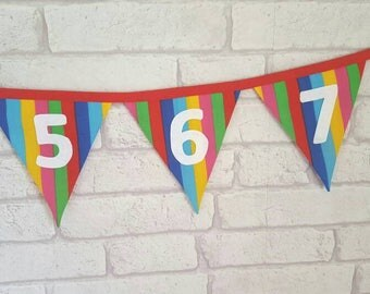 Number Bunting for Children~Classroom Bunting~Learning to Count~Educational Bunting~Rainbow Garland~0-1 Number Garland~Playroom Decoration