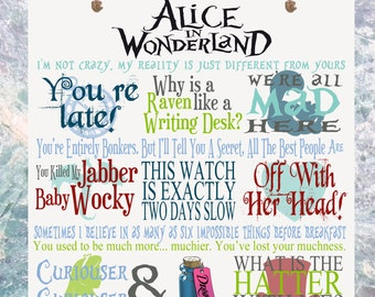 Alice in Wonderland Film Movie Quotes Plaque Birthday Gift Tim Burton Cheshire Cat Mad Hatter