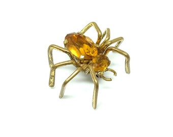 Antique Victorian Brass Tone Paste Czech Spider Brooch Vintage 1900s Simulated Amber Statement Six Leg Figural Arachnid Insect Jewelry
