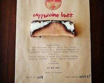 SOLD OUT! Cappuccino Buzz Coffee Soap Bar, Exfoliating,Delicious, Vegan, Organic, Perfect Gift, Rich Lather, Caffeine Fix, Kitchen Essential