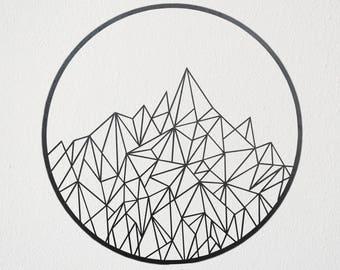 Geometric Mountain Metal Art