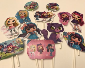 Little Charmers cupcake toppers. 12 Little Charmers party decorations. Birthday cake toppers.