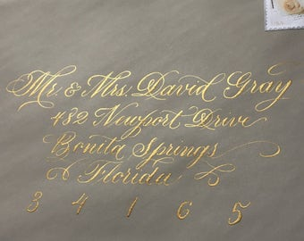 Addressed Wedding Envelopes in Formal, Elegant Style Calligraphy