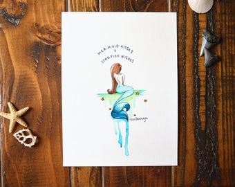 Mermaid Kisses - Watercolor Painting