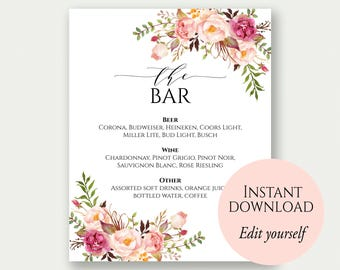 Wedding bar menu etsy for Wedding drink menu template free