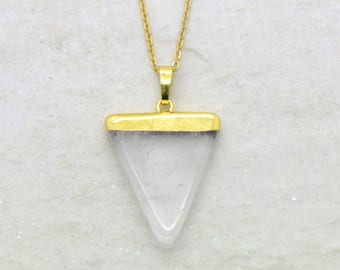 Triangle Crystal Quartz Necklace, Brushed 24k Gold Plated Stainless Steel Chain, Dainty Minimal Gemstone Layering Layered Long Necklaces