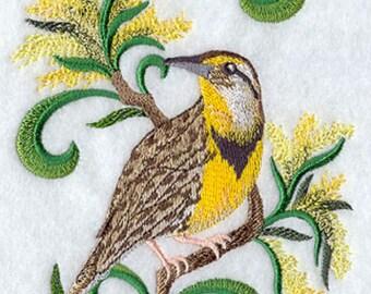 Nebraska Western Meadowlark And Goldenrod Embroidered Tea Towel, Nebraska  State Bird And State Flower Embroidered