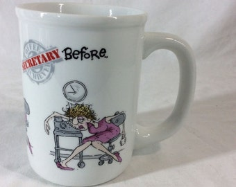 1986 Receptionist Before/During/After Mug Coffee Achievers Kevin LahVic Enesco