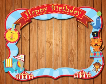 Circus themed birthday party photo frame