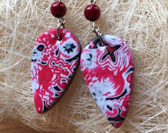 Earrings red and white clay polymer