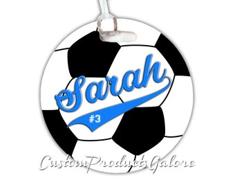 Soccer Bag Tag, Round Soccer Sports Bag Tag, Luggage Tag, Soccer Team Gift, Player Gift, Athlete Gift, Youth Sports Bag Tag, Gym Bag Tag