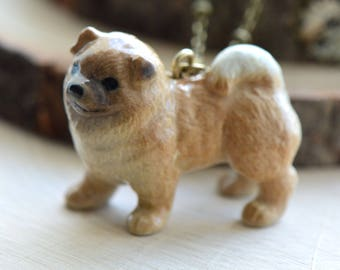 Hand Painted Porcelain Chow Chow Puppy Dog Necklace, Antique Bronze Chain, Vintage Style, Ceramic Animal Pendant & Chain (CA056)