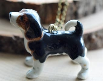 Hand Painted Porcelain Beagle Dog Necklace, Antique Bronze Chain, Vintage Style, Ceramic Animal Pendant & Chain (CA161)