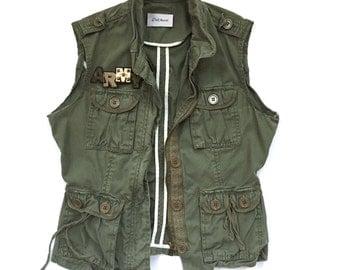 Women's Army Green Vest (XS) | custom made | Army patch | women's vest