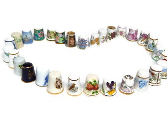 CLEARANCE PRICE Lowered 25% 30 Vintage Fine China, Porcelain and Bone China Collectible International Thimbles