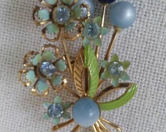 Vintage floral enamel and rhinestone  brooch