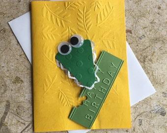 Handmade Crocodile birthday card