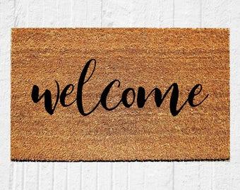 Welcome Calligraphy Doormat | Welcome Mat | Door Mat | Outdoor Rug |  Home Decor | Housewarming Gift | 18x30