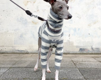 Italian Greyhound Clothing, Fleece, Long sleeves T-shirt, Stripe [White/Gray]